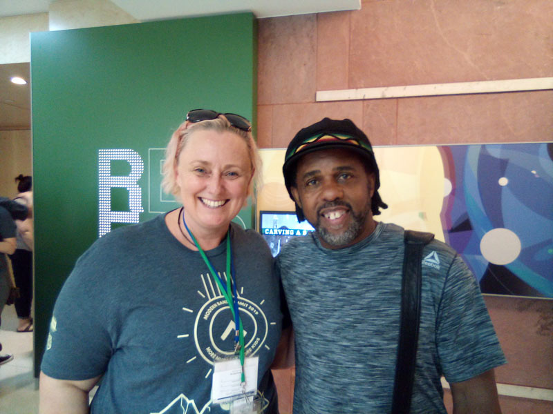Amanda Dumesny with Victor Wooten, Rolling Stone Magazine Top Ten Bass Players of All Time.