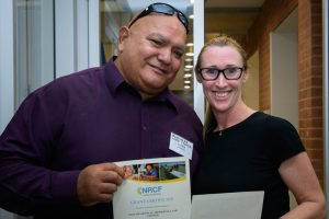 James Henderson Ngulingah Land Council with Kate Kempshall North Coast community College after receiving grants from NRCF
